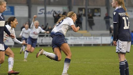 Tottenham Hotspur Ladies forward Rianna Dean celebrates her late winner at Millwall Lionesses (pic: