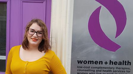 Beth outside Women+Health in Camden Town, the charity that helped her recover after she escaped traf