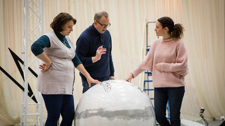 Director Matthew Richardson, together with Jeni Bern and Jennifer France in rehearsals. Picture: Nad