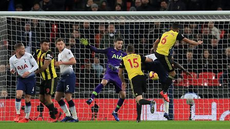 Watford's Craig Cathcart scores his side's first goal of the game during the Premier League match ag