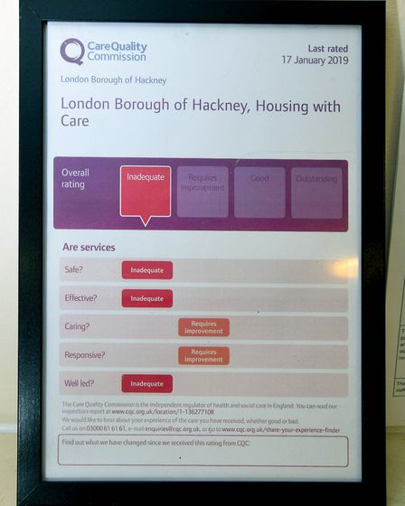 The CQC certificate for Rose Court in Holly Street, one of Hackney Council's 14 Housing with Care sc