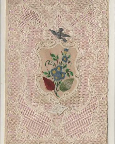 Stampex will have a display of vintage Valentine's cards, including this one from 1860. The message
