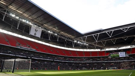 General view of the action in the 37th minute with an empty upper tier in the ground during the Prem