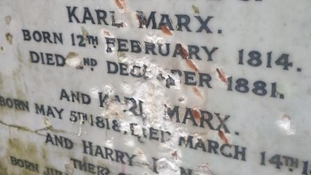 The damage done by vandals to Karl Marx's memorial in Highgate Cemetery. Picture: Highgate Cemetery