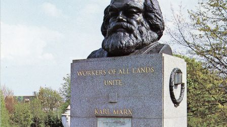 Karl Marx's final resting place in Highgate Cemetery where he was reburied in 1954 along with his wi