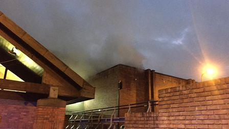 Smoke coming out of the Britannia Leisure Centre.