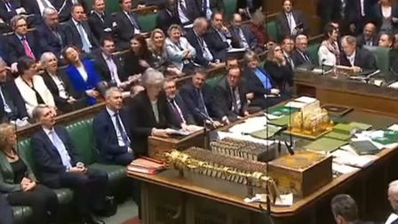 Theresa May speaks in the Commons after the Brady amendment vote. Picture: PARLIAMENT