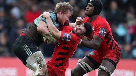 Action from Saracens against Harlequins in the Premiership Rugby Cup (pic: Andrew Matthews/PA)