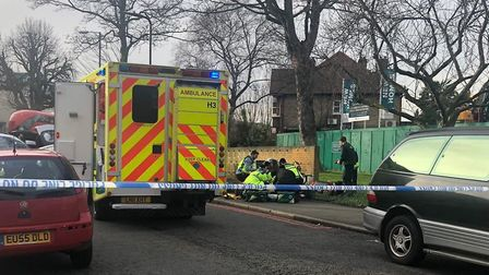 Emergency services in Castlewood Road, Upper Clapton, on Wednesday afternoon. Picture: Twitter/@999L