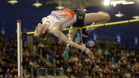 Chris Baker in action in the men's high jump (pic: Anna Gowthorpe/PA)