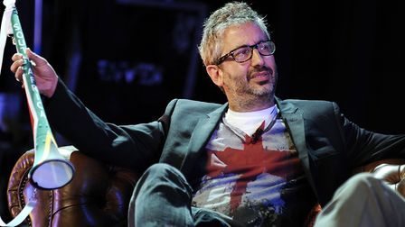 David Baddiel and Frank Skinner on stage at the Absolute Radio South Africa Send Off Party, at the L