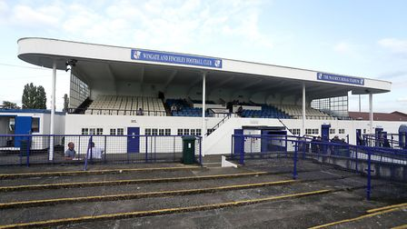 A general view looking towards the main stand at Wingate & Finchley's Maurice Rebak Stadium (pic: Ga