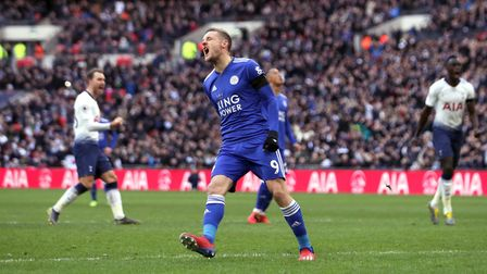 Leicester City's Jamie Vardy reacts after missing a penalty during the Premier League match against