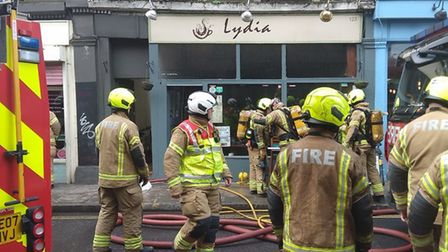 Firefighters at the scene of a blaze in Lydia's Cafe, Church Street. Picture: @LondonFire