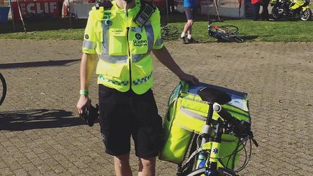 Martin from St.john ambulance about to ride the Tour de Broads in full emergency kit. Photo: Tour de