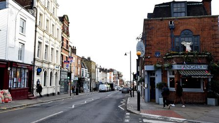 Highgate High Street, which is split equally between Haringey on the left hand side of the road, and