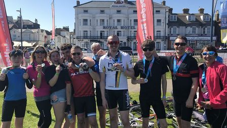 Tour de Broads riders with their medals. Photo: Fran Conroy-Burrows