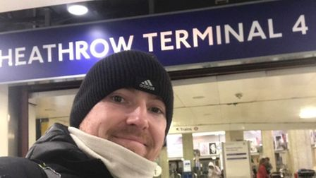 Dan Sherry ran all the way to Heathrow along the Picadilly Line. Picture: Dan Sherry