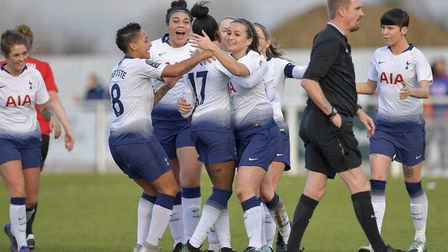 Jessica Naz is congratulated by her team-mates after scoring for Tottenham Hotspur Ladies in their 3