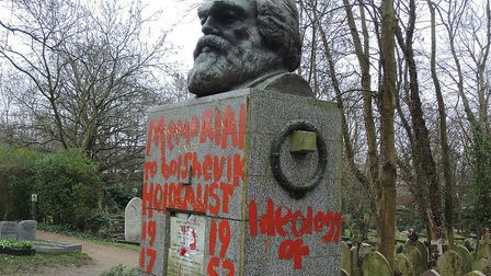 Karl Marx's memorial in Highgate Cemetery has been vandalised for the second time this month. Pictur