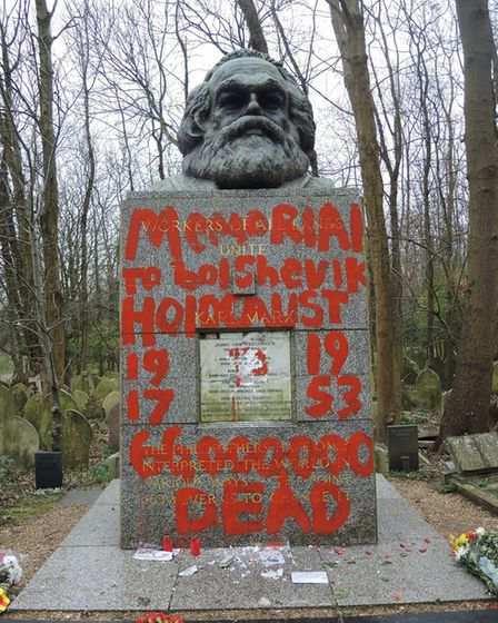 Vandals have daubed paint all over Karl Marx's grave in Highgate Cemetery. Picture: Highgate Cemeter