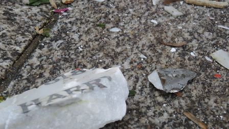 A fragment of the marble tablet which was attacked. Picture: Highgate Cemetery