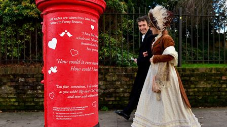 """Actors from Keats House Museum are pictured at the unveiling of a """"romantic"""" postbox in honour of po"""