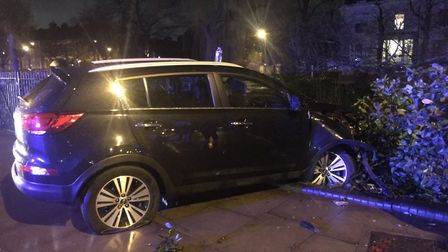The car that crashed in Clapton Pond. Picture: Hackney Police