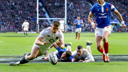 England's Owen Farrell (left) scores his side's fifth try against France (pic: Gareth Fuller/PA)