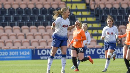 Tottenham Hotspur Ladies forward Rianna Dean celebrate scoring at London Bees (pic: Wu's Photography