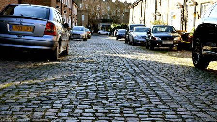 The cobblestones in question - on Fairfax Place, South Hampstead. Picture: Polly Hancock