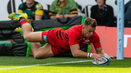 Alex Lewington scores a try for Saracens at Northampton Saints in September (pic: Paul Harding/PA)