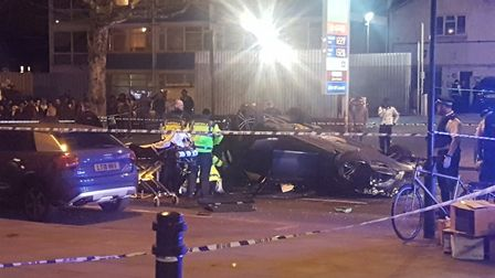 The car flipped over during the police chase in Stamford Hill. Picture: @faizaaaaaaal on Twitter