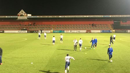 Tottenham Hotspur under-23s warm up ahead of the second half against Dinamo Zagreb
