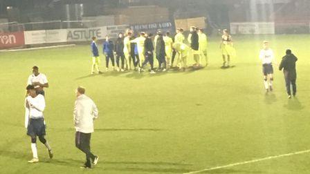 Tottenham Hotspur under-23 players react after losing to Dinamo Zagreb