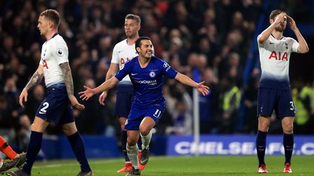 Chelsea's Pedro celebrates scoring his side's first goal of the game during the Premier League match