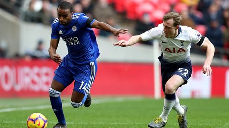 Leicester City's Ricardo Pereira in action with Tottenham Hotspur's Oliver Skipp during the Premier