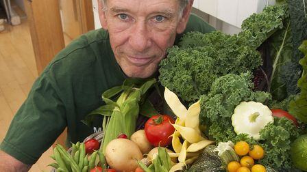 Gary Sycamore with his Trugg of vegetablesMuswell Hill Horticultural Society Autumn show 2018