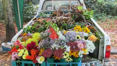 Flowers on the back of Gary's truck. Picture: Gary Sycamore