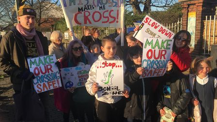 Children campaign for the crossing outside of Martin Primary to be made safer. Picture: Erini Rodis