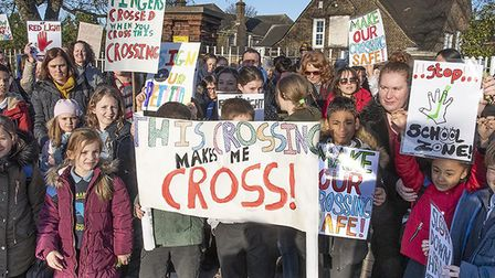 """Children from Martin Primary School protest at the """"dangerous"""" crossing outside of the school. Pictu"""