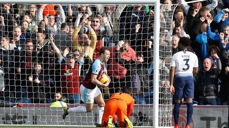Burnley's Ashley Barnes celebrates scoring his side's second goal of the game during the Premier Lea