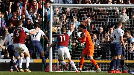 Burnley's Chris Wood scores his side's first goal of the game during the Premier League match agains