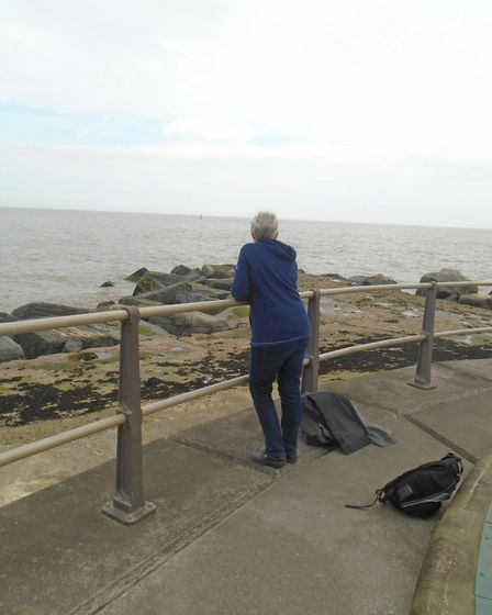 Nicky Frowen at Ness Point in Lowestoft to see the place where her uncle's bomber had crashed in the