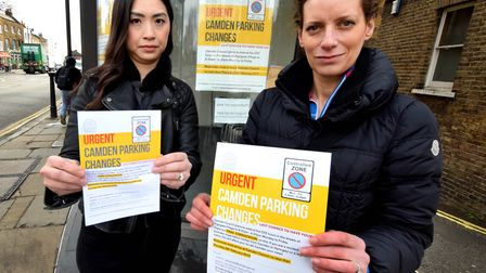 Bee Kwan and Nicola Caisley with their leafets about proposed changes to Highgate's CPZ, outside th