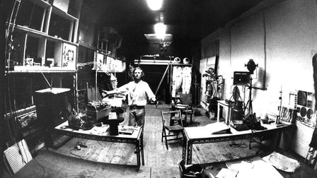 Bruce Lacey in his Martello Street studio in the early 70s. Picture: Ingeborg Sedgley