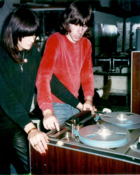 Chris Carter and Cosey Fanni Tutti working a rented multitrack at Industrial Records Studio at Marte