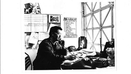 Alan Rossiter at his desk at Chat's Palace in the 70s. Picture: Mike Gray