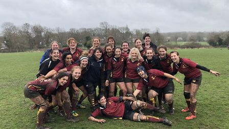 Hampstead Ladies face the camera after their huge win over Chesham (Pic: Jon Boyle)