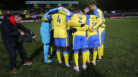Haringey Borough have a group hug before kick-off (pic: George Phillipou/TGS Photo).